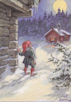 Curt Niström, Christmas card 10 x Finland Christmas Mood, Scandinavian Christmas, Christmas Deco, Vintage Christmas, Illustration Sketches, Illustrations, Christmas Knomes, Old Fashioned Christmas, Christmas Illustration