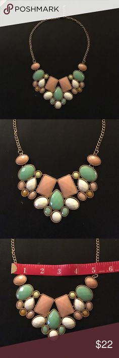 """Statement necklace 12"""" gold tone faceted beads Feminine Statement necklace that adjusts from  12"""" -14"""" in a gold tone with pastel pink, green, and white faceted beads. Statement necklace bead design is 5"""" across by 3"""" wide. Jewelry Necklaces"""