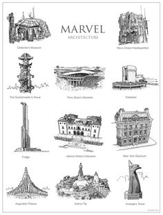 What the Architecture of Game of Thrones, Harry Potter, and Star Wars Looks Like as Pen-and-Paper Drawings Ms Marvel, Marvel Comics, Fantasy Map, Fantasy World, Fantasy News, Fantasy Movies, Land Art, Arte Do Harry Potter, Images Star Wars