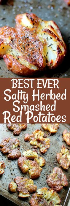 The BEST EVER Salty Herbed Smashed Red Potatoes are the perfect side dish! Smoth… The BEST EVER Salty Herbed Smashed Red Potatoes are the perfect side dish! Smothered in tasty herbs and chunky salt, these are finger-lickin' good! Red Potato Recipes, Veggie Recipes, Vegetarian Recipes, Cooking Recipes, Recipes With Red Potatoes, Small Potatoes Recipe, Sprout Recipes, Heart Healthy Recipes, Potato Side Dishes