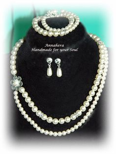 """ANNAHERA"" - handmade for your soul: Set mireasă Pearl Necklace, Swarovski, Handmade, Jewelry, Fashion, Bead, String Of Pearls, Moda, Hand Made"