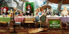 Like the mushrooms for columns and concept of a long table for seating and tea service- alice in wonderland - Google Search