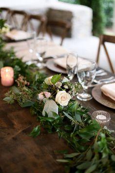 Garden garland with pops of pale arrangements #cedarwoodweddings Charming…