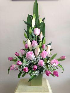 Pink Roses, Tulips and Oriental Lilies - Designer: Stephanie Hanley. www.floralhavenflorist.com.au