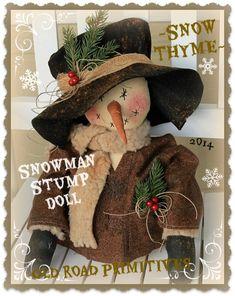 ***NEW*** Snow Thyme Snowman Stump Doll Pattern-Snowman,Snow,Christmas,Winter,Old Road Primitives,ePattern,