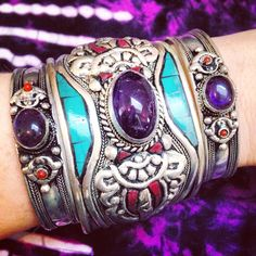 ॐ Pretty in purple! ॐ Check out our website for more at www.ohmboho.com ☮ #ohmboho #jewellery #jewelry #bracelet #cuff #turquoise #purple #tiedye #coral #tibetan #silver #boho #bohemian #hippy #hippie #ethnic #gypsy #native #indie #style #fashion