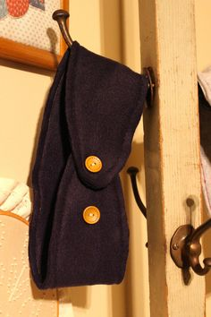 Navy Blue Fleece Ear Warmer with Wooden by JamieGregoryHandmade
