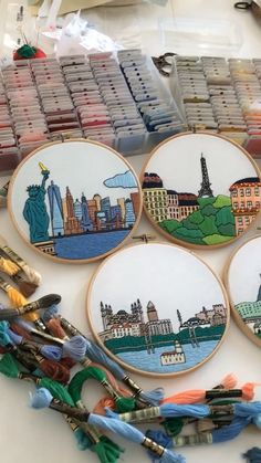 More than 130 cities available. On video: New York, Paris, Rome, Istanbul and Tokyo Hand Embroidery Videos, Embroidery Stitches Tutorial, Embroidery On Clothes, Flower Embroidery Designs, Creative Embroidery, Simple Embroidery, Hand Embroidery Designs, Embroidery Kits, Cross Stitch Embroidery