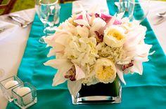 Centerpiece Flowers and table runner  Kauai Wedding #wedding #kauai