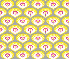 Peacock Drops Sunny Yellow fabric by zesti on Spoonflower - custom fabric, @Michelle Bright - Yellow and Gray for you :)