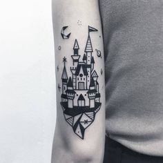 Blackwork Geometric Castle Tattoo by Greemtattoo