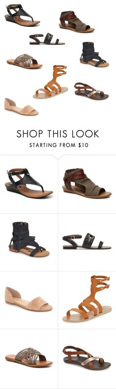 """Flat sandals (Rachel Mann)"" by bsomers ❤ liked on Polyvore featuring Blowfish, Naughty Monkey, Sole Society, Ancient Greek Sandals and OluKai"