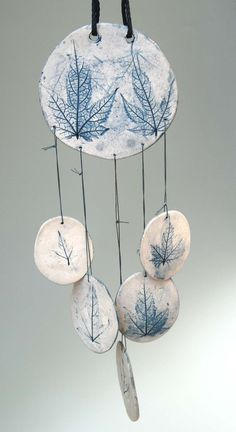 Blue Porcelain Wind Chime, abutilon leaf. $14,00, via Etsy.