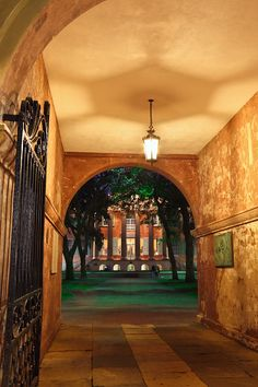This is a view through College of Charleston Porter's Lodge toward Randolph Hall. This college is the oldest municipal college in the U.S. (est. 1770) and the setting for an early part of the movie, The Patriot, which was filmed at this location.