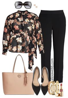 Plus Size Floral Top Work Outfit - Alexa Webb A really easy business casual look to transition from winter to spring. Add a cardigan for layered warmth. Go here for more plus size work outfit id. Plus Size Womens Clothing, Plus Size Outfits, Plus Size Fashion, Clothes For Women, Size Clothing, Work Clothes, Clothing Sites, Casual Clothes, Petite Fashion