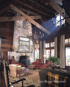 Fireplace in Living Room - Liza Bryan Interiors and Summerour Architects, antique lumber by Vintage Lumber Sales
