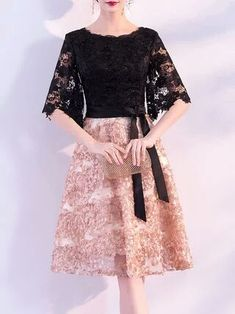 Black A-line Party Half Sleeve Evening Midi Dress Dress Brukat, Kebaya Dress, Batik Dress, Lace Dress, Party Dress, Simple Dresses, Beautiful Dresses, Dresses With Sleeves, Black Dress With Sleeves