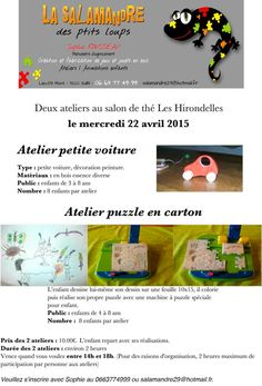 """Ateliers """"petite voiture"""" et """"puzzle"""" le mercredi 22 avril 2015 aux Hirondelles à Cluny."""
