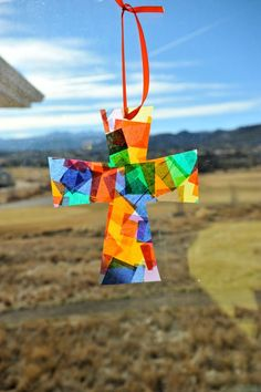preschool Easter crafts- tissue paper cross
