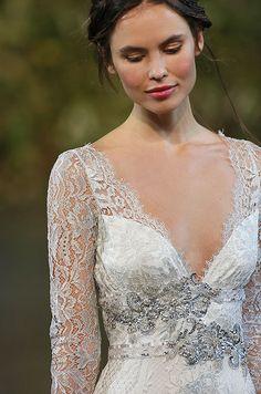 Beautiful silver beadings on the Claire Pettibone lace wedding dress.