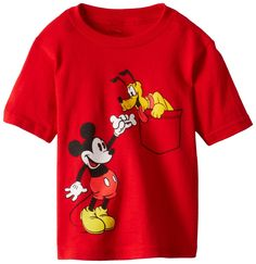 Disney Toddler Boys' Mickey and Pluto Short Sleeve T-Shirt, Red, - Baby