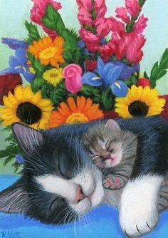 cyberbeth - Animals - Cat nap by flowers by Bridget-Voth23 Kittens Cutest, Cats And Kittens, Cute Cats, Cat Paws, Dog Cat, Animal Original, Image Chat, Cat Colors, Cat Drawing