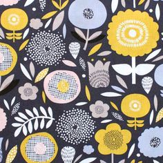 Dashwood Studio(ダッシュウッドスタジオ)「Bloom BLOO 1138 Packed Floral」の生地通販。「Bloom BLOO 1138 Packed Floral」は、パターンデザイナーRachel Caveが手がけたコンテンポラリーフラワープリント生地です。格子やドットなど模様が入るユニークな形状の花と葉っぱが隙間を埋めるように配置されています。キリッとしまるチャコールグレーとマスタードやピンクグレーなど淡いカラーの対比もきれいです。イギリス・ダッシュウッドスタジオの生地日本取扱店。かわいい生地・おしゃれなファブリックがたくさんの生地屋さん。
