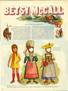 Vintage September 1969 Magazine Paper Doll Betsy McCall Writes From Switzerland  *1500 free paper dolls for Christmas at artist Arielle Gabriels The International Paper Doll Society and also free Asian paper dolls at The China Adventures of Arielle Gabriel *