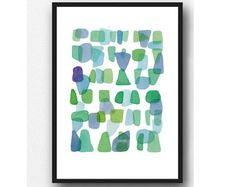 Watercolor painting print. An abstract painting in blue green. Sea glass & beach finds.  paper size 8,3 x 11,7 actual painting size: 6,5 x 8  Printed on Archival Heavyweight paper. 310 gms. A museum-quality heavyweight matte paper.  Comes unframed and unmatted.  The works are signed in the front and carefully shipped to you in a cellophane bag with a sturdy backing and a rigid stay-flat mailer to ensure they reache you in perfect condition.  My prints are made with Epson Ultrachrome K3 in...