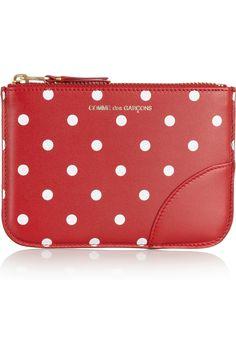 Comme des Garçons|Polka dot-print leather coin purse|NET-A-PORTER.COM