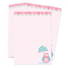 Hou je van snailmailen of schrijf je graag lange brieven met je penvriendinnen? Dit postpapier is dan echt iets voor jou!  Leuke set briefpapier in zachte kleurentinten, met een lieve afbeelding van een uil met een paraplu.  Set van 10 vellen, formaat A5 (21 x 14,8 cm). Dit postpapier is exclusief te verkrijgen bij Lojo.