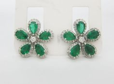Auction-5-06CT-Flower-Design-Emerald-and-Diamond-Earrings-F-SI-18K-White-Gold