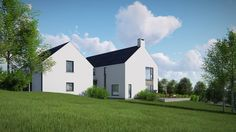 The design reflects traditional characteristics of rural farmhouse but the detailing is executed in a contemporary manner. Architecture 101, Vernacular Architecture, Modern Barn, Modern Farmhouse, Facade House, House Exteriors, House Facades, House Designs Ireland, Building Silhouette