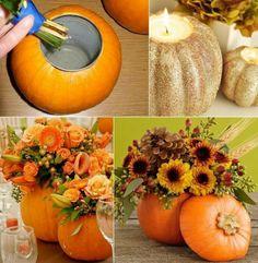 Flores de otoño como centro de mesa