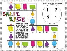 3D shape race game! - requires students to name the number of faces, edges and vertices in order to advance