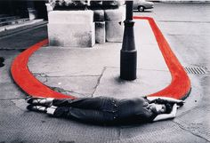 """Encirclement"" From The Series 'Body Configurations' VALIE EXPORT gelatin silver print w/red ink 1976"