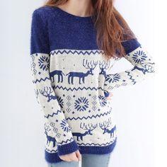Round Collar Deer Pattern Sweater, #Wendybox