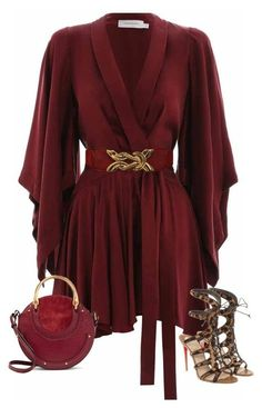 A fashion look from September 2017 featuring burgundy dresses, leopard shoes and red handbags. Browse and shop related looks. Lila Outfits, Black Dress Outfits, Mode Outfits, Night Outfits, Classy Outfits, Stylish Outfits, Look Fashion, Girl Fashion, Autumn Fashion