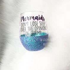 Mermaid stemless glitter wine glass by TheGoldenHeart on Etsy