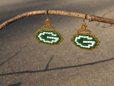 Green Bay Packer beaded earrings by ExtraBlueDay on Etsy