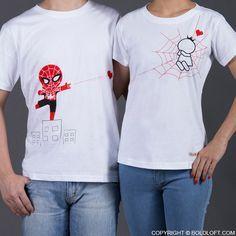 eb965262873e SpiderMan matching couple t-shirts Aniversario Pareja