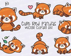 Vector Clipart of Chinese New Year. Vector Clipart of Chinese New Year. Chinese new year kawaii clipart s - Red Panda Tattoo, Panda Drawing Easy, Red Panda Cute, Neotraditional Tattoo, Chibi, Illustrator, Kawaii Bunny, Cute Raccoon, Kawaii Doodles