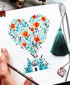 Likes, 99 Comments - Natalia Nazarian©️ Pen Art, Marker Art, Watercolor Cards, Watercolor Paintings, Watercolours, Floral Illustrations, Illustration Art, Pinturas Disney, Watercolour Tutorials