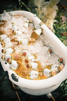 A tub full of beer? Don't mind if we do. #refinery29 http://www.refinery29.com/industrial-san-francisco-wedding#slide-9