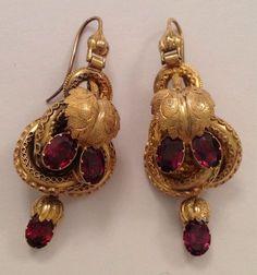 Superb Finest Victorian 15ct Gold Etruscan & Almandine Garnet Set Drop Earrings