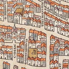 Paris circa 1150 under the reign of King Henry II of France. Created by Olivier Truschet and Germain Hoyau. Old Maps, Antique Maps, Vintage Maps, Map Quilt, Map Projects, Tourist Map, Map Globe, Paris Map, Fantasy Map