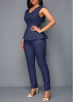 V Neck Peplum Waist Sleeveless Jumpsuit African Fashion Dresses, African Dress, Fashion Outfits, Womens Fashion, Black Haircut Styles, Business Casual Attire, Overall, Celebrity Dresses, Jumpsuits For Women