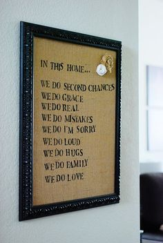 Burlap family rules sign...another idea