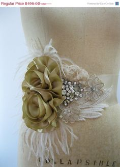 20% OFF CUST0M Bridal Sash with Vintage Crystal Jewelry, Feathers and Handmade Flowers MADE To Order