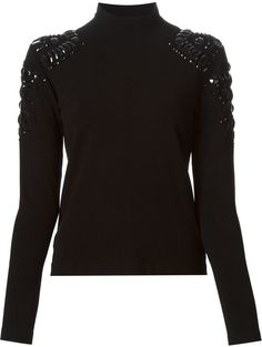 Pin for Later: Pretty, Festive Jumpers You Can Start Wearing Now Blumarine Turtle Neck Blumarine Embellished Turtle Neck Sweater Festive Jumpers, Sequin Shirt, Holiday Fashion, Sweater Fashion, Refashion, Knitwear, Turtle Neck, Sweaters, Tricot